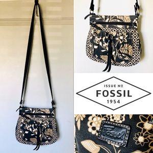 Fossil Canvas & Leather Crossbody Purse